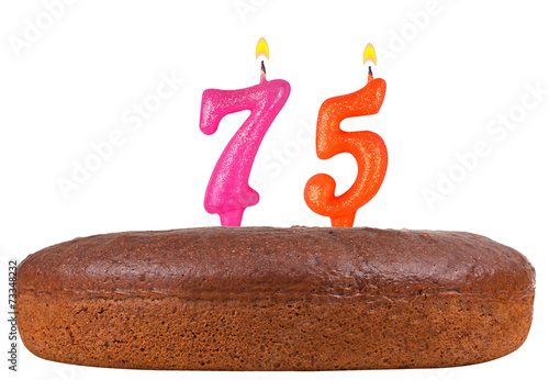 birthday cake candles number 75 isolated Poster