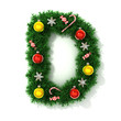 canvas print picture - Christmas tree font letter D