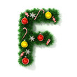 canvas print picture - Christmas tree font letter F