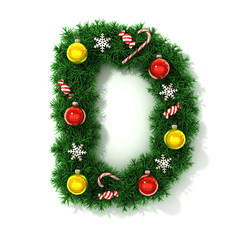 Christmas tree font letter D