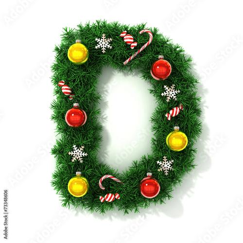 canvas print picture Christmas tree font letter D