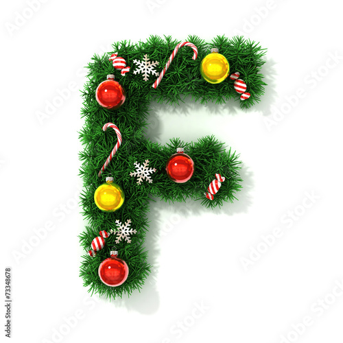 canvas print picture Christmas tree font letter F