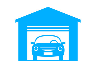 Blue car icon on white background