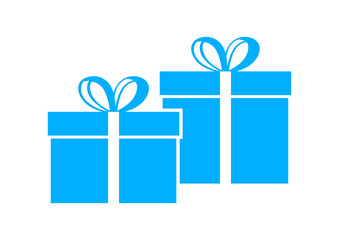 Blue gift icon on white background