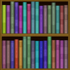 texture of funny color bookshelf, bookcase
