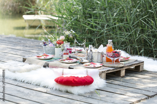 Leinwandbild Motiv gesundes picknick