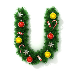 Christmas tree font letter U