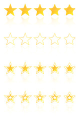 Five Golden Star Quality Award Icons With Reflection