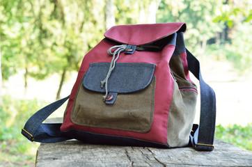 Handmade jean backpack outdoors