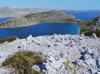 View with cairns of teh Kornati Archipelago in the Adriatic sea