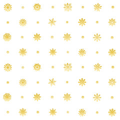 Elegant Christmas  Seamless Snowflakes Pattern. gold vector