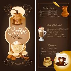 Coffee cafe menu