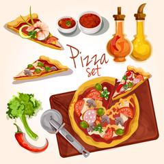 Pizza ingredients set