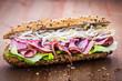 Vegetables and ham sandwich