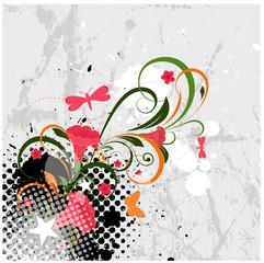 Abstract Grunge Flourish Background
