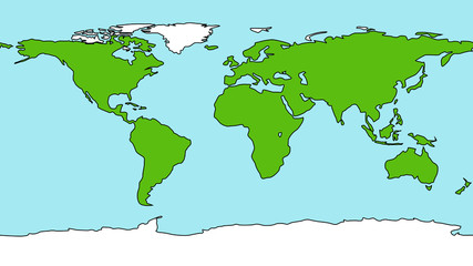 Cartoon style Earth map
