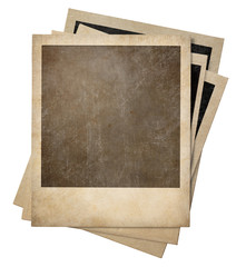 polaroid old photo frames stack isolated