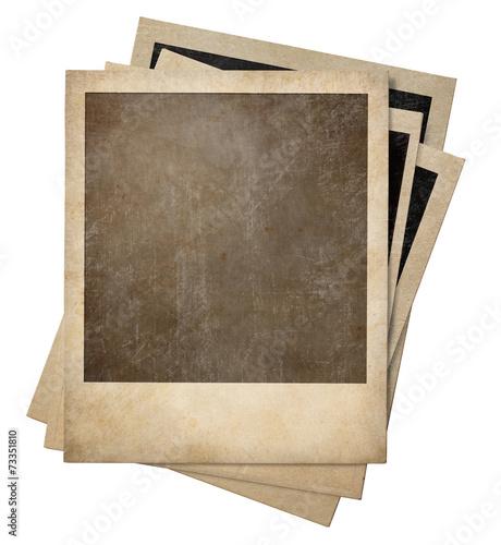 Leinwandbild Motiv polaroid old photo frames stack isolated