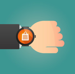 Smart watch icon with a shopping bag