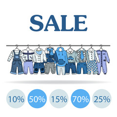 Vector illustration with sale of clothes for boys