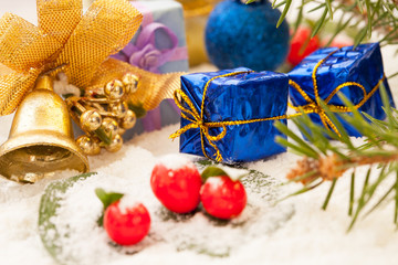 Christmas decorations with golden jingle bell