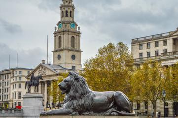 Trafalgar Square London UK during winter