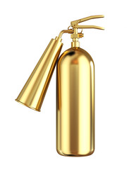 Golden extinguisher isolated
