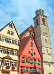 Dinkelsbuhl, Germany: View of the old tower and facades.