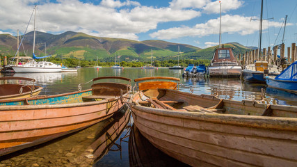 Boats moored at Derwent Water,The Lake District, England