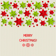 Xmas starry decorations on white knitted background