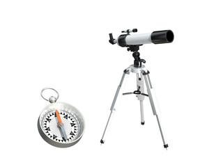 天体望遠鏡とコンパス
