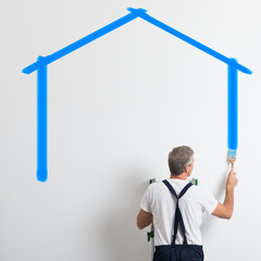 Painter Painting House Shape