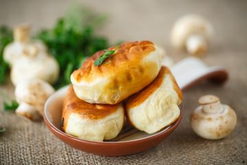 fried patties with mushrooms