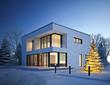 Leinwandbild Motiv Haus Kubus im Winter