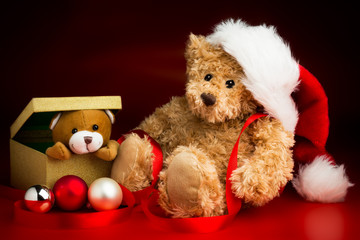 Teddy Bear Wearing a Christmas Hat and a Toy Bear Peeking Out of