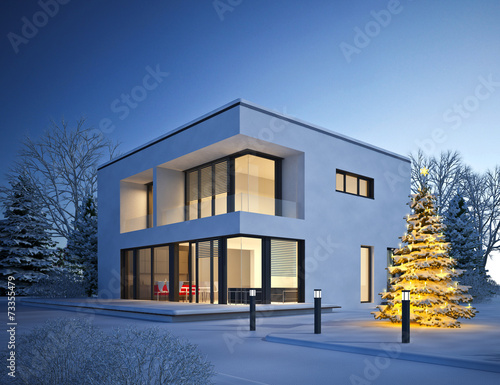 canvas print picture Haus Kubus im Winter