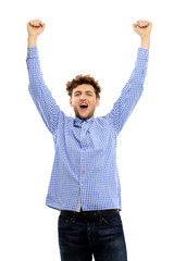 Smiling man with raised hands up