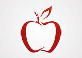 Apple line red illustration logo vector - 73355837