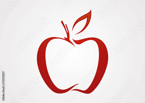 Apple line red illustration logo vector © hanivart24