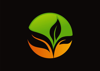 Green and orange leaf icon circle eco logo vector