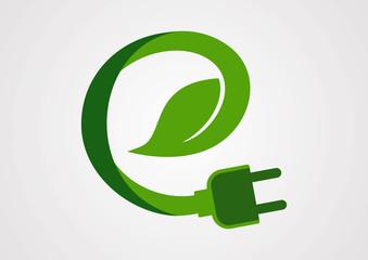 Ecology electric plug logo vector