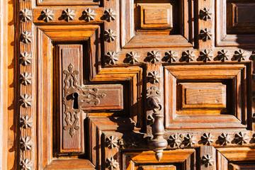 Detail of ancient wooden door.