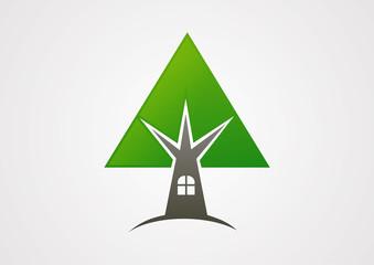 Eco house logo vector