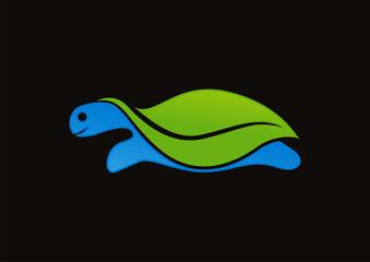 Green leaf turtle logo vector