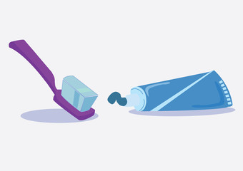 squeezing toothpaste and toothbrush. vector illustration