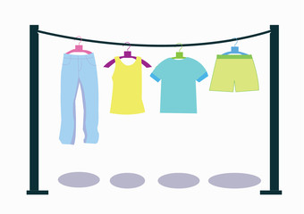 washed clothes on washing lines. vector illustration