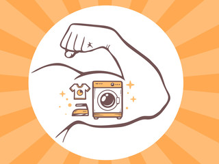 Vector illustration of strong man hand with  icon of washing mac