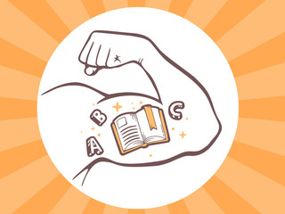 Vector illustration of strong man hand with open book icon on br