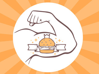 Vector illustration of strong man hand with burger icon on brigh
