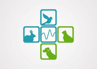 Medic cross pet animals cardiogram in logo vector